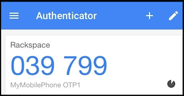 Rackspace Cloud OTP device configured in the Google Authenticator application.